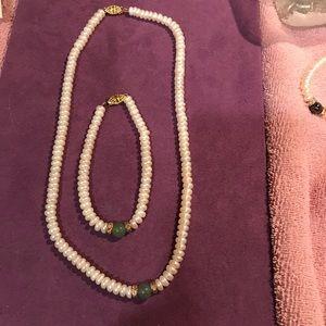 Pearl Jade Necklace Bracelet set